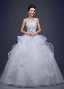 Image of Fiori di pizzo abito da sposa senza spalline bordare Ball abito da sposa avorio Ruffle netto piano lunghezza abito da sposa