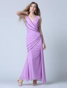 Image of Sirena Tulle Abito da sera scollato vestito da partito Sexy caviglia perline abito lilla occasione