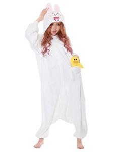 Kigurumi pyjama lapin Cony Onesie blanc flanelle flanelle adultes mignon Costume Halloween