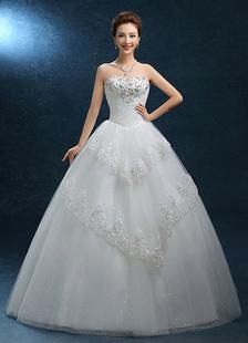 Image of Palla abito da sposa Abito pizzo senza spalline Sweatheart sposa Abito perline pavimento-lunghezza abito da sposa scollato