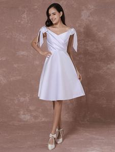 Image of Abiti da sposa di estate 2018 Abito da sposa in raso corto in spalla arretrato con spalle A-line Prom Dress Milanoo