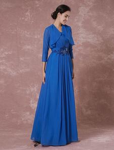 Image of 2 pezzi madre abito blu abito da sera in Chiffon Maxi Shrug pieghe bordare abito da Cerimonia
