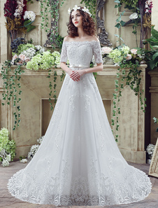 off-the-shoulder-lace-weddding-dress-half-sleeves-bridal-gown-chapel-train-a-line-bridal-dress