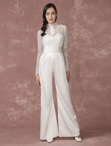 Image of Pizzo nozze Tute lunghe maniche da sposa pantaloni posteriore illusione Culottes a-line raso Abito da sposa Milanoo