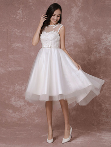 Image of Sposa corto vestito pizzo Applique High-Low abito da sposa Desig