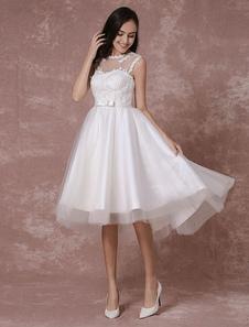 Image of Sposa corto vestito pizzo Applique High-Low abito da sposa Design posteriore corto Prom Milanoo