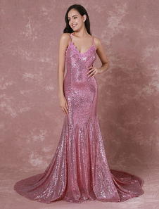 Image of Paillettes Abito da sera Mermaid Backless Red Carpet Abito pizzo Applique Criss-cross formale abito da