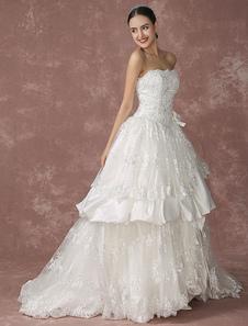 Pizzo abito da sposa principessa senza spalline palla abito abito da sposa cappella treno Backless Luxuary nuziale abito Milanoo
