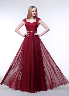 Image of Pizzo abito da sera tesoro Borgogna Chiffon Prom abito senza maniche Perline Sash una linea abito formale