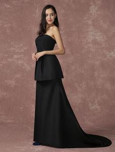 Image of Nero Abito da sera scollato Party Dress senza spalline in Taffetà A linea Sash-Abito da Cerimonia