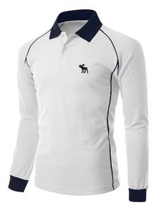 Camisa Sport de los hombres camisa Polo blanca de algodón manga larga