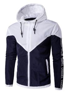 Image of Giacca a vento giacca con cappuccio bicolore manica lunga con coulisse giacca con Zip uomo leggero