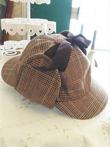 plaid-lolita-hats-ribbon-bows-khaki-deerstalker-hat