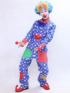 Image of Tuta blu stelle vestito di Carnevale Clown Costume maschile