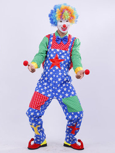 Image of Set vestito di Carnevale Clown Costume maschile stelle colorate Top e pantaloni Halloween