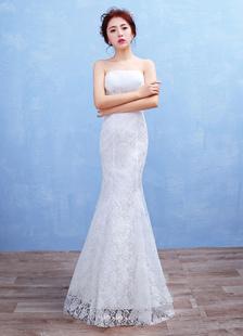 Image of Sirena Boho sposa Abito pizzo senza spalline Maxi-abito da sposa scollato bianco piano lunghezza abito da sposa