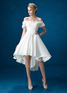 Image of Abiti da sposa di estate 2018 raso bianco merletto fuori dalla spalla abito da sposa abito basso abito da sposa abito da sposa manica corta