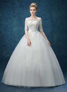 Image of Palla abito pizzo Applique perline Maxi abito da sposa illusione Keyhole mezze maniche Bow Sash piano lunghezza nuziale abito da sposa