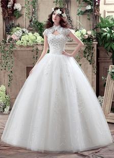 Image of Principessa Abito da sposa pizzo collo alto Maxi abito da sposa Keyhole strass perline paillettes piano lunghezza abito di sfera abito da sposa bianco