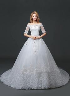 Image of Abito da sposa principessa fuori lo spalla pizzo perline abito da sposa bianco mezza manica palla abito abito da sposa con Cattedrale di treno