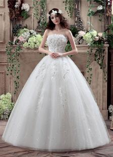 Image of Tulle senza spalline Abito sposa 3D fiori perline Maxi abito da sposa scollato con paillettes piano lunghezza palla abito abito da sposa