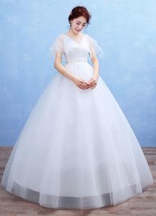 Image of Abito da sposa Tulle V collo Maxi abito da sposa impero vita fiori perline mezza manica Floor lunghezza palla abito abito da sposa