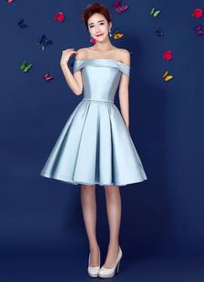 Image of Abito da Cocktail in raso fuori lo spalla Prom abito pastello blu una linea Lace Up pieghe al ginocchio abito da Homecoming