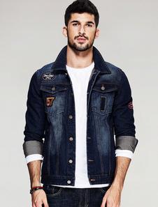 Image of Manica lunga Casual blu giacca Short Denim giacca uomo