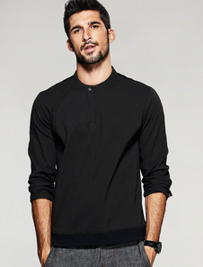 Nero manica lunga Stand colletto di cotone camicia uomo camicia Casual di modellatura