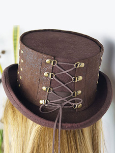 Image of Carnevale cappello Steampunk Brown Beaded Lace Up Flat Top Hat S