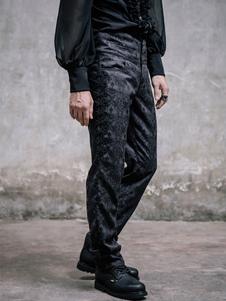 Steampunk hommes pantalons pantalon Jacquard noir Costume rétro Vintage Halloween