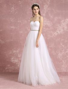 Boho avorio Wedding Dress Backless Abito da sposa Sweetheart senza spalline Tulle in rilievo un linea vestito da sposa
