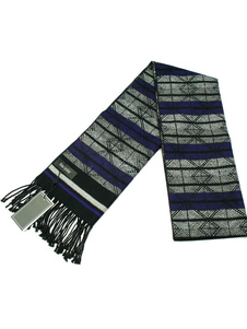 Bufanda de lana Jacquard Bufanda de mezcla de lana con franja de hombre