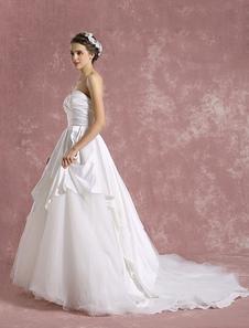 Image of Principessa Abito da sposa avorio senza spalline Abito da sposa scollato senza spalline in Tulle plissettato abito da sposa con strascico