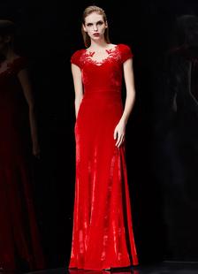 Image of Abito da sera rosso occhiale formale abito ricamato perline manica corta Abito Maxi partito con scialle