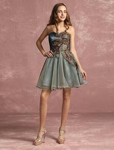 Abito da Cocktail in tulle di pizzo Applique perline Sweetheart Prom abito senza spalline senza maniche Backless una linea abito corto partito