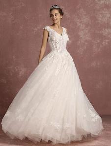 Image of Principessa Abito da sposa pizzo V collo disossato Abito da sposa scollato 3D fiori senza maniche piano lunghezza palla abito abito da sposa