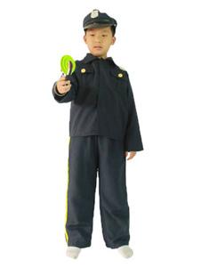 Cop de Halloween Costume bleu foncé dessus avec pantalon et chapeau Costume de garde pour les enfants de la Prison Halloween
