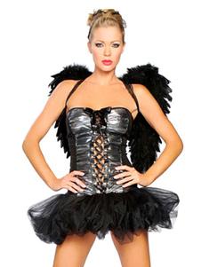 Image of Costume da angelo nero corto sexy per donna  Carnevale