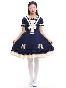 Image of Lolita marinaio vestito blu OP volant manica corta archi Deco Lolita un pezzo di vestito