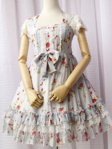 Image of Volant Bow Lolita estate vestito a strati di Chiffon Kawaii Lolita abito azzurro cielo OP Sweet Lolita