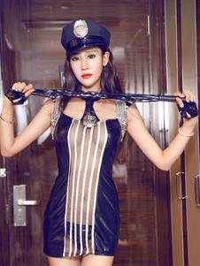Image of Poliziotto sexy costumi Carnevale nero puro Bodycon Mini abito abiti Carnevale