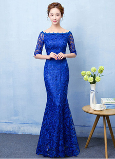 Image of Mermaid Evening Dress Royal Blue Lace Prom Dress Off The Shoulder Half Sleeve fishtail Maxi Party Dress
