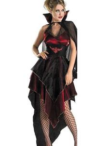 Image of Mardi Gras irregolare Carnevale Costume demone Cosplay femminile a livelli mantello e abito corto nero Carnevale