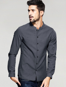 Camicia grigio pulsante manica lunga Stand colletto della camicia Casual uomo