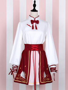 Image of Rosso Lolita SK gonna vita alta Criss Cross Swan Lake Lolita gonna
