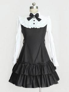 Image of Classic Lolita Dress OP Nero Lolita Abito collo alto maniche lunghe a più livelli volant Lolita un pezzo di vestito con fiocco