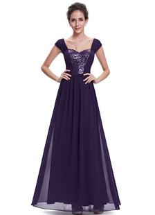 Chiffon Mère de la mariée Sequined Sweetheart Off The Shoulder Robe de soirée A Line Longueur à cheville Cheap Party Dress