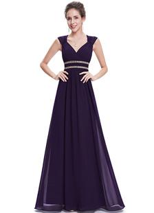Image of Una linea Backless piano lunghezza abiti da festa di perline abiti da sera in Chiffon Queen Anne scollatura abiti formali lavanda