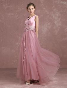 Image of Tull Abito da sera A linea pizzo Backless Prom abito con intaglio scollo maniche Beaded Lace Up abito laurea rosa